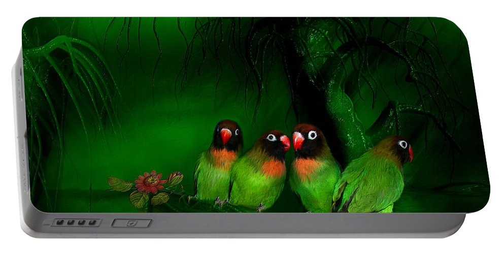 Lovebird Portable Battery Charger featuring the mixed media Strange Love by Carol Cavalaris