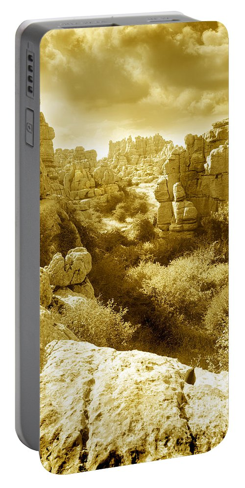 Rock Portable Battery Charger featuring the photograph Strange Rock Formations At El Torcal Near Antequera Spain by Mal Bray
