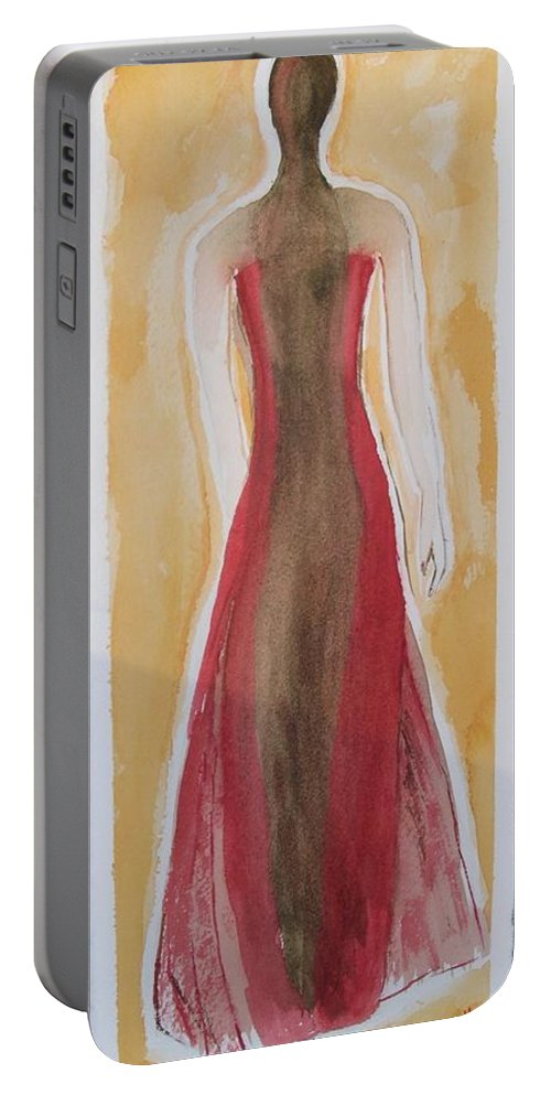 Dress Lady Red Yellow Fashion Portable Battery Charger featuring the painting Stranger by Patricia Caldwell