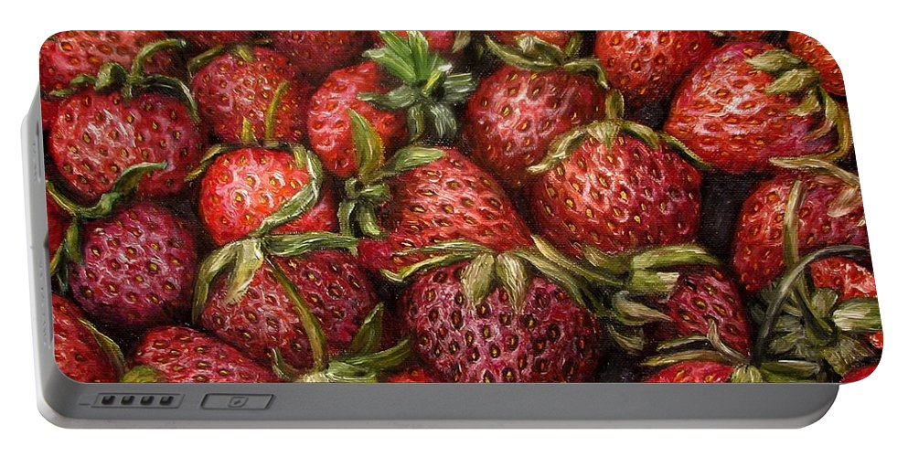 Strawberries Portable Battery Charger featuring the painting Strawberries -2 Contemporary Oil Painting by Natalja Picugina