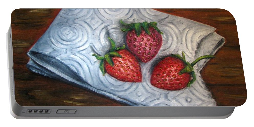 Strawberries Portable Battery Charger featuring the painting Strawberries-3 Contemporary Oil Painting by Natalja Picugina