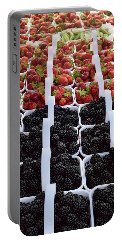 Strawberries Portable Battery Charger featuring the photograph Strawberries And Blackberries by Timothy Smith