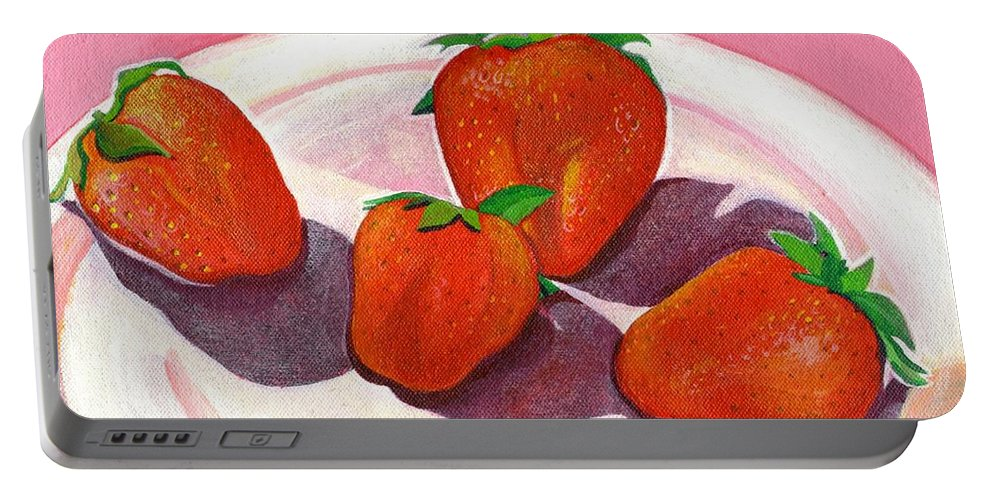 Food Portable Battery Charger featuring the painting Strawberries and Cream by Helena Tiainen