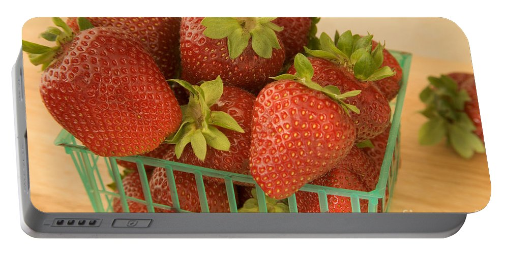 Strawberry Portable Battery Charger featuring the photograph Strawberries by Inga Spence