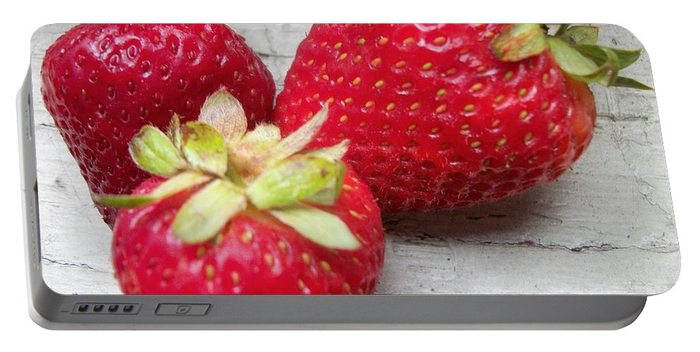 Portable Battery Charger featuring the photograph Strawberries by Jan Gilmore