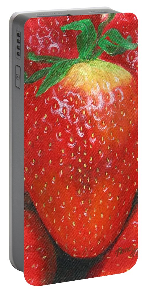 Strawberries Portable Battery Charger featuring the painting Strawberries by Nancy Nale