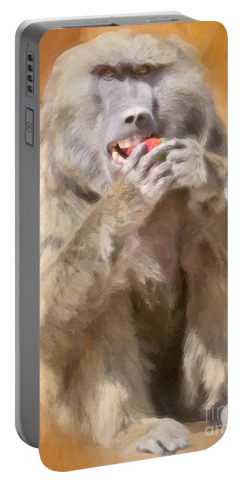 Strawberry Baboon Portable Battery Charger featuring the painting Strawberry Baboon by David Millenheft
