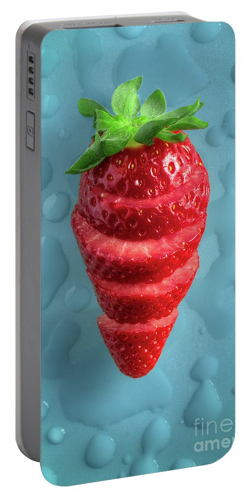 Red Portable Battery Charger featuring the photograph Strawberry Fresh Sliced by Carlos Caetano