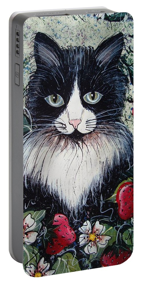 Cat Portable Battery Charger featuring the painting Strawberry Lover Cat by Natalie Holland