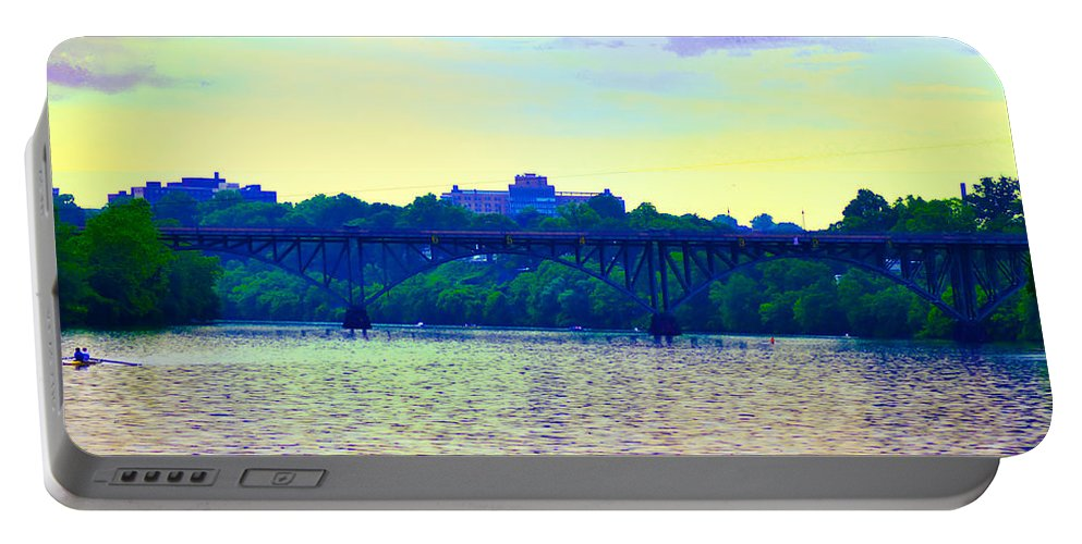 Philadelphia Portable Battery Charger featuring the photograph Strawberry Mansion Bridge Across The Schuylkill River by Bill Cannon