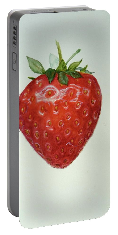 Strawberry Portable Battery Charger featuring the painting Strawberry by Renate Schliesmann