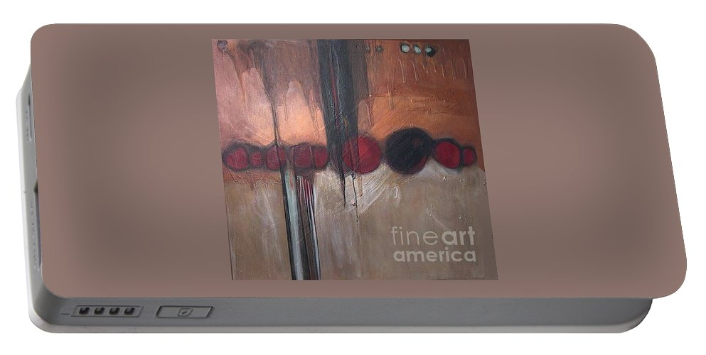 Metallics Portable Battery Charger featuring the painting Streak by Marlene Burns
