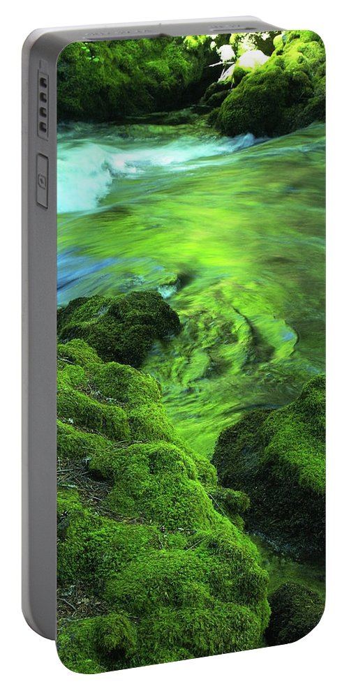 Green Portable Battery Charger featuring the photograph Stream Above Whitehorse Falls by Teri Schuster