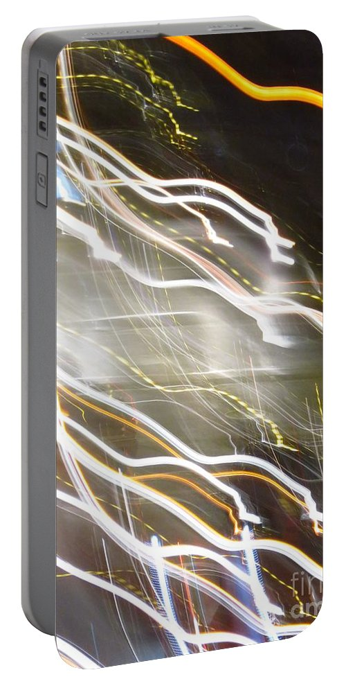 Abstract Portable Battery Charger featuring the photograph Streaming Abstract by Ken Lerner