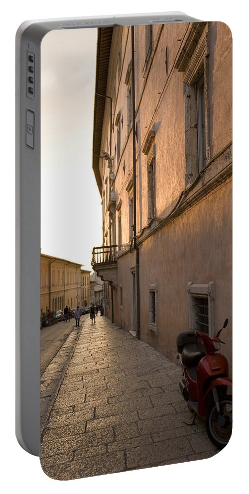 Tourist Portable Battery Charger featuring the photograph Street At Sundown In Assisi by Ian Middleton