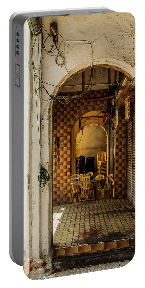 Street Photography Portable Battery Charger featuring the photograph Street Cafe In Ipoh by Julian Regan