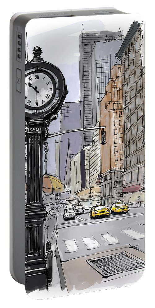 Street Clock Portable Battery Charger featuring the painting Street Clock On 5th Avenue Handmade Sketch by Drawspots Illustrations