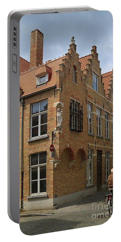 Street Portable Battery Charger featuring the photograph Street Corner In Bruges Belgium by Louise Heusinkveld