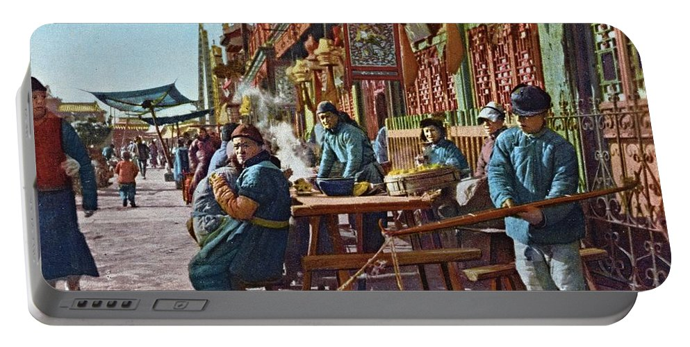 Peking Portable Battery Charger featuring the photograph Street Life Of Peking, 1921 by Vintage Printery