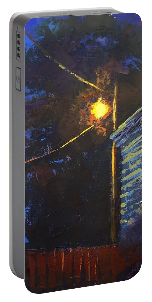 Night Scene Portable Battery Charger featuring the painting Street Light Nocturne by Jim Morgan