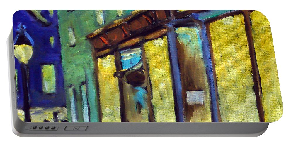 Town Portable Battery Charger featuring the painting Streets At Night by Richard T Pranke