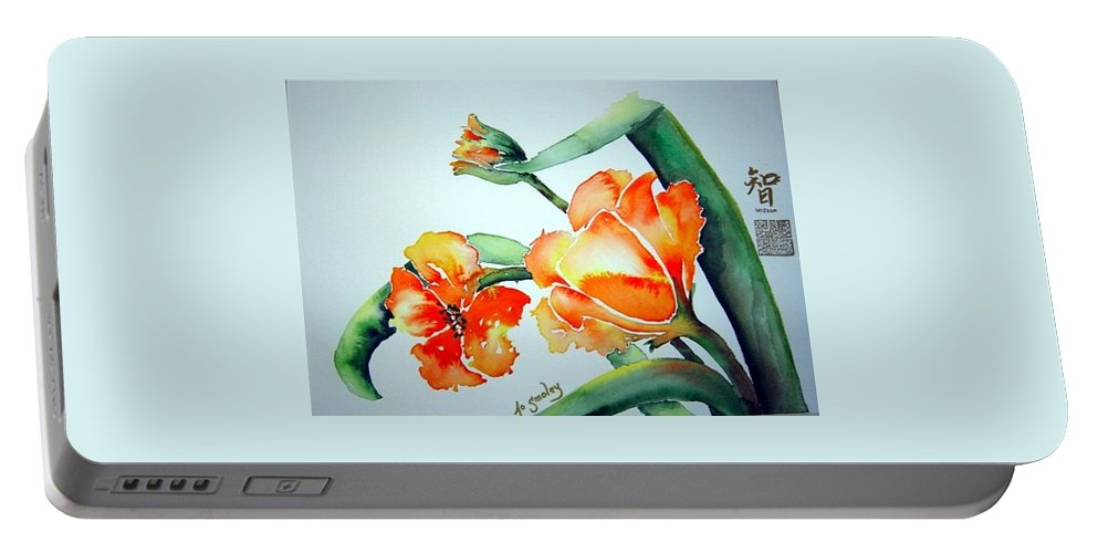 Tulips Or Poppies Portable Battery Charger featuring the painting Stretching In The Spring Sun by Joanne Smoley
