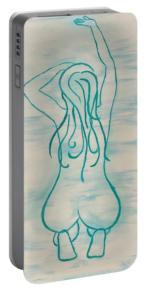 Nude Portable Battery Charger featuring the painting Stretching Lady by KC Georgulas