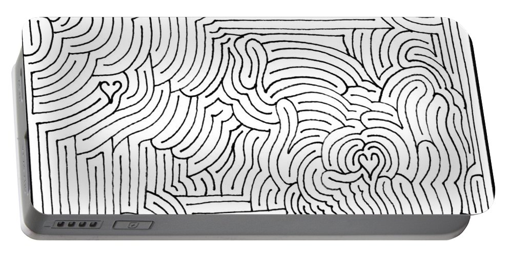 Mazes Portable Battery Charger featuring the drawing Stricken by Steven Natanson