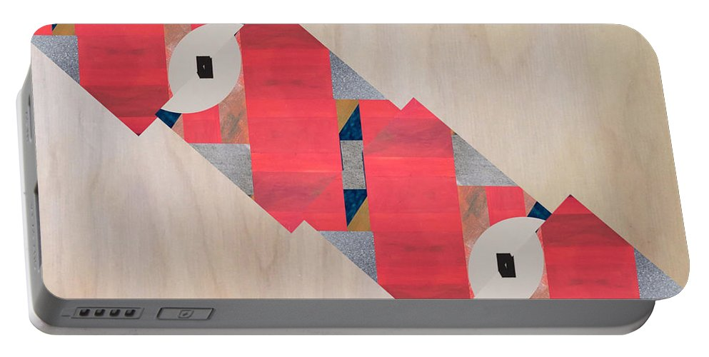 Abstract Portable Battery Charger featuring the digital art Stripe by Mary Jo Hopton
