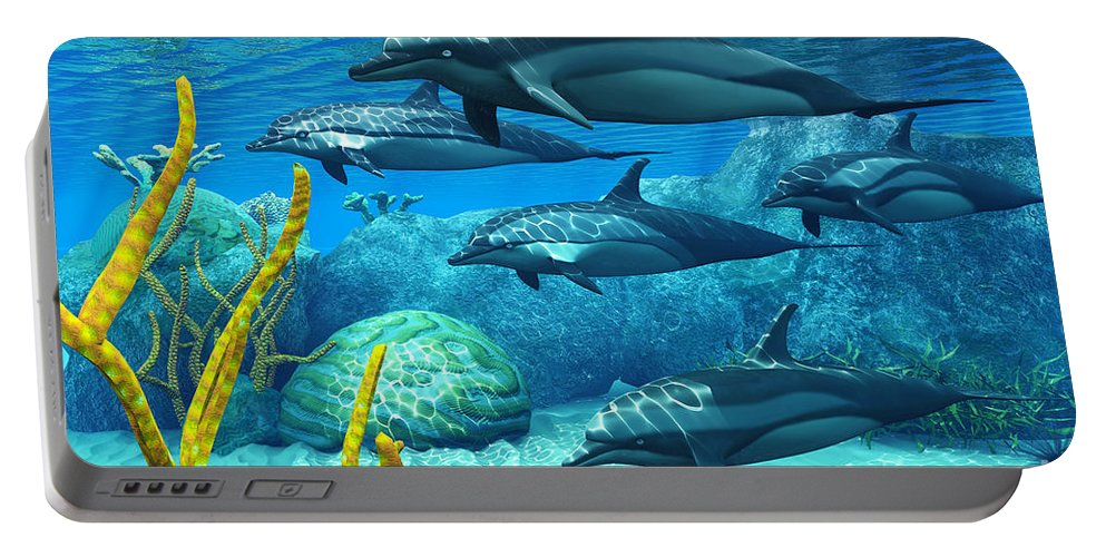 Striped Dolphin Portable Battery Charger featuring the painting Striped Dolphins by Corey Ford
