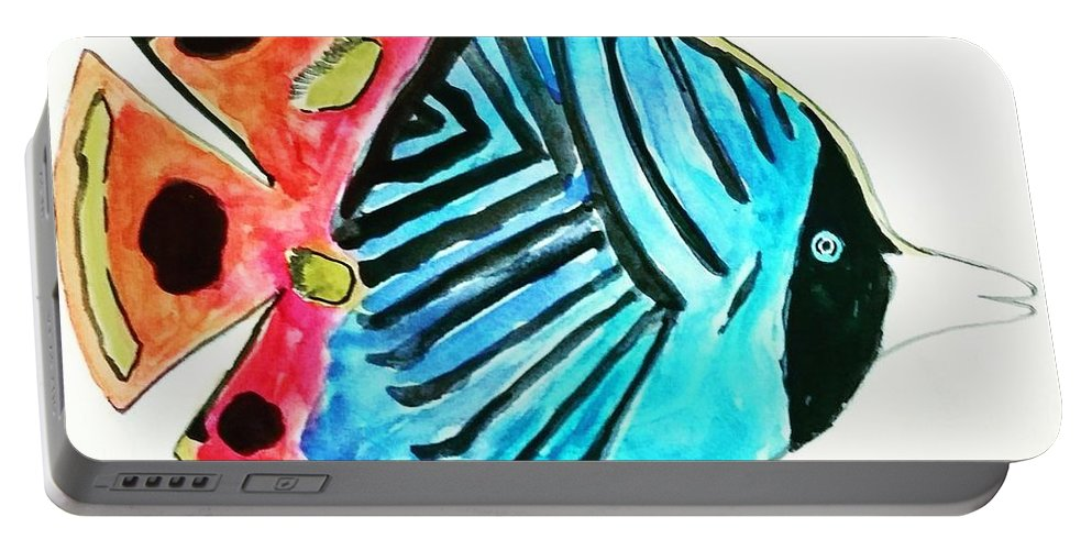 Tropical Fish Portable Battery Charger featuring the painting Striped Fish by Amy Anderson