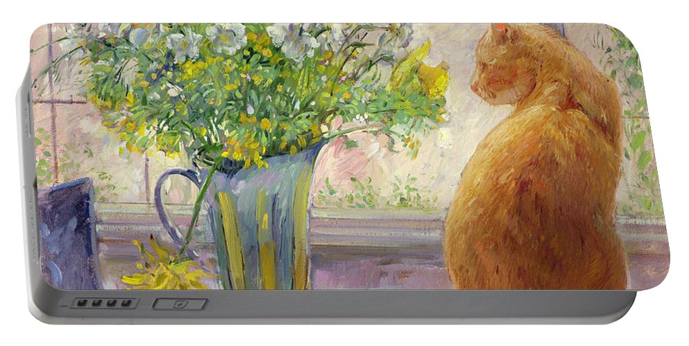 Ginger; Cat; Vase; Narcissi; Chicken; Pheasants Eye; Flower; Flowers ; Window; Open Window; Pheasant Portable Battery Charger featuring the painting Striped Jug With Spring Flowers by Timothy Easton