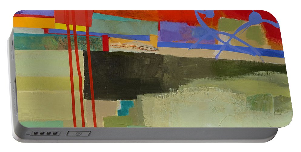 Abstract Art Portable Battery Charger featuring the painting Stripes And Dips 2 by Jane Davies