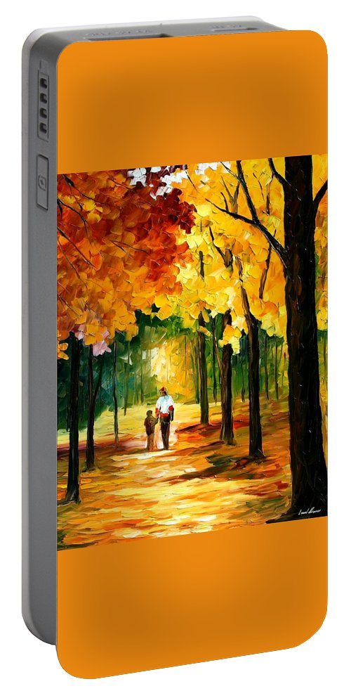 Afremov Portable Battery Charger featuring the painting Stroll In The Forest by Leonid Afremov