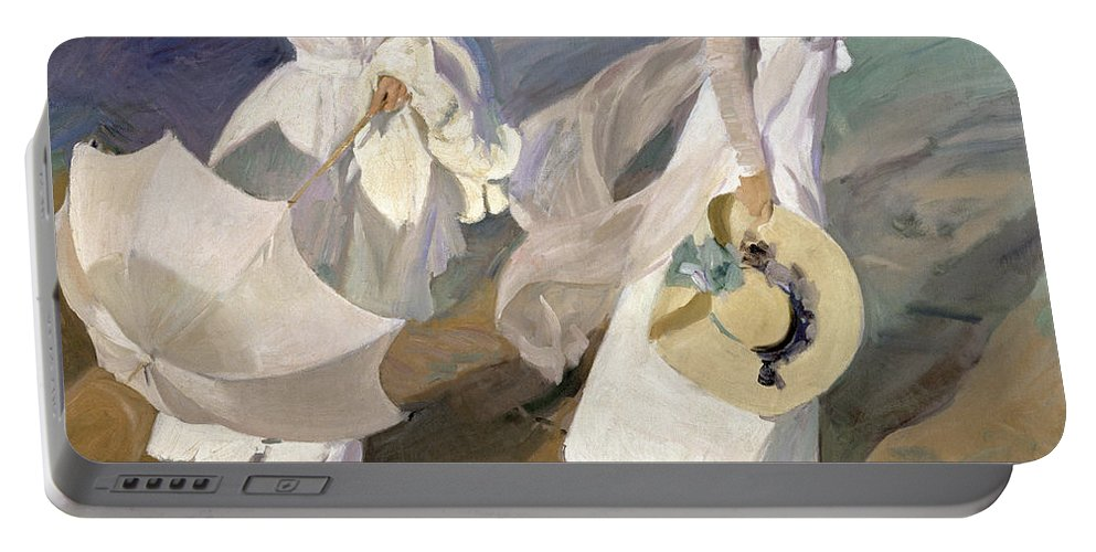 Sorolla Portable Battery Charger featuring the painting Strolling Along The Seashore by Joaquin Sorolla y Bastida