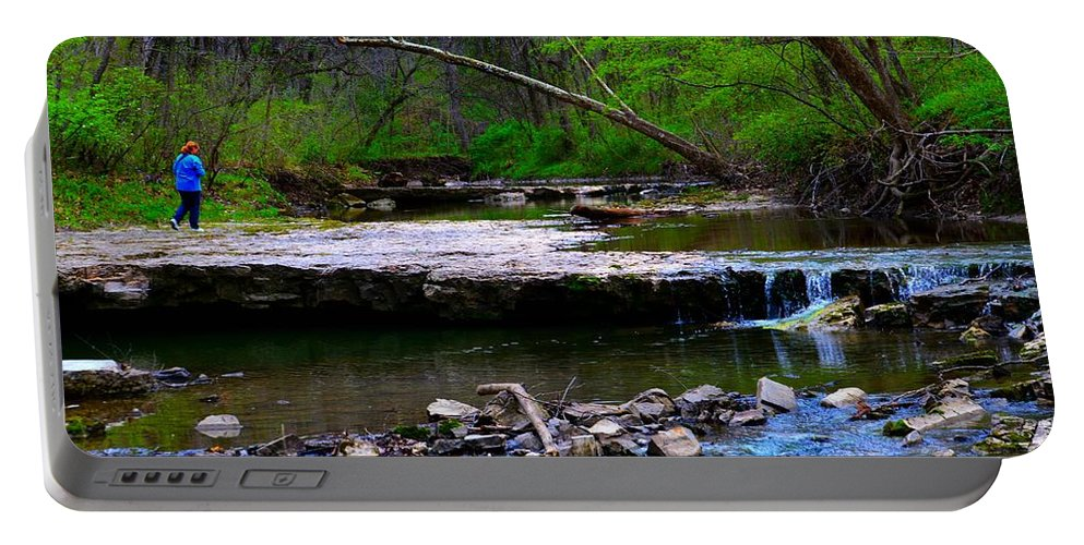 Wallace State Park Portable Battery Charger featuring the photograph Strolling By The Stream by Kim Blaylock