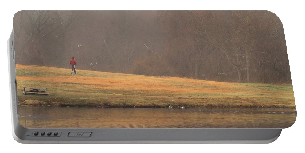 Fog Portable Battery Charger featuring the photograph Strolling Thru The Park by Karol Livote