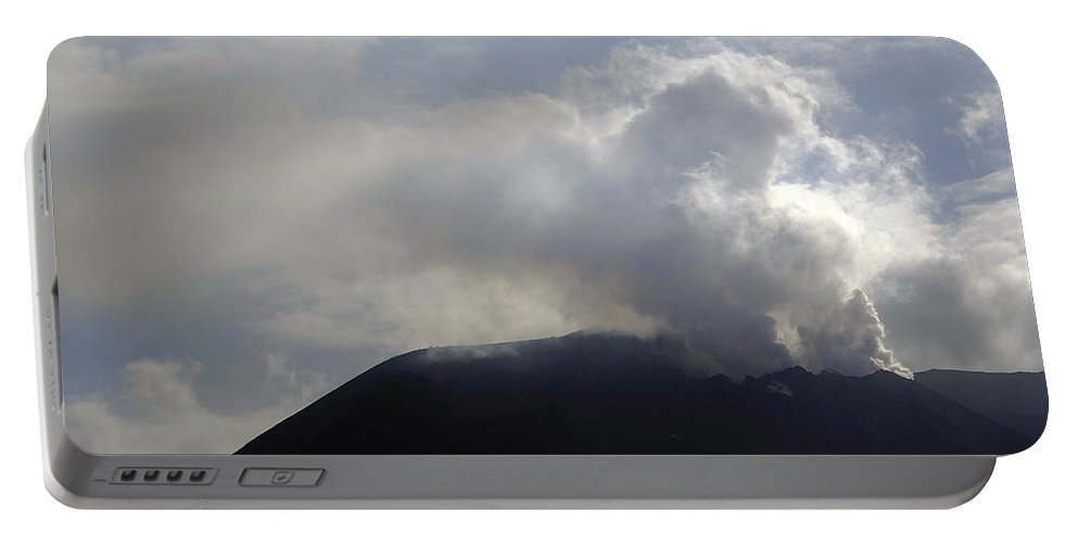 Stromboli Portable Battery Charger featuring the photograph Stromboli Volcano On The Island Of Stromboli by Richard Rosenshein