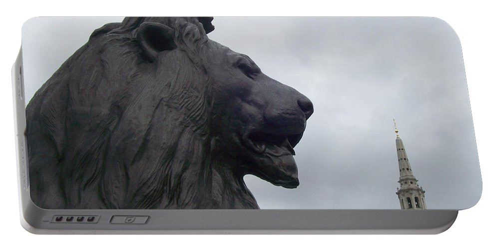 Lion Portable Battery Charger featuring the photograph Strong Lion by Mary Mikawoz