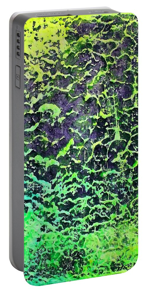 Abstract Portable Battery Charger featuring the painting Structure Of Outer Space by Pamela Rys