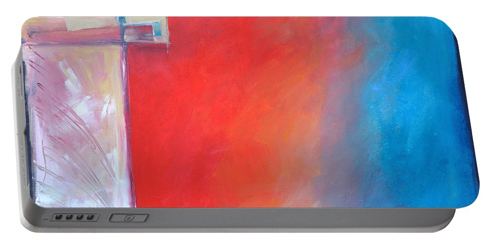 Abstract Portable Battery Charger featuring the painting Structures And Solitude Revisited by Tim Nyberg