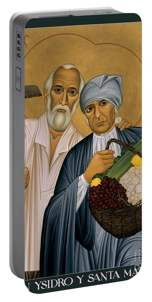 Sts. Isidore And Maria Portable Battery Charger featuring the painting Sts. Isidore And Maria - Rliam by Br Robert Lentz OFM