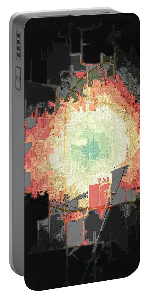 Map Portable Battery Charger featuring the digital art Stuart And Amber Bike Scorched Black Jagged Topo by Sebastian Noah Frank