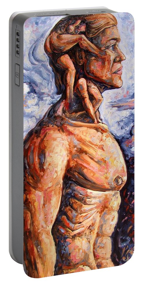 Surrealism Portable Battery Charger featuring the painting Stuck On You In My Unconscious Paradise by Darwin Leon