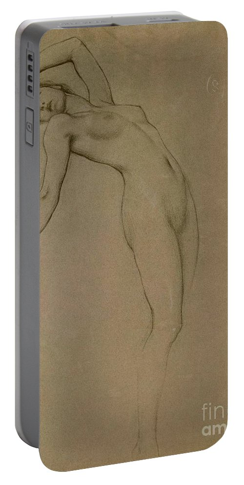 Study Portable Battery Charger featuring the drawing Study For Clyties Of The Mist by Herbert James Draper