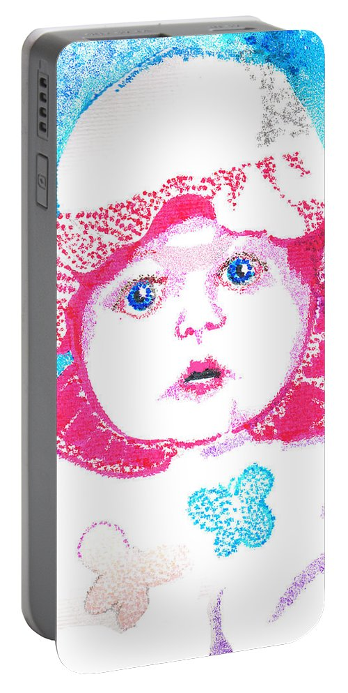 Baby Portable Battery Charger featuring the digital art Study In Blue And Pink by Seth Weaver