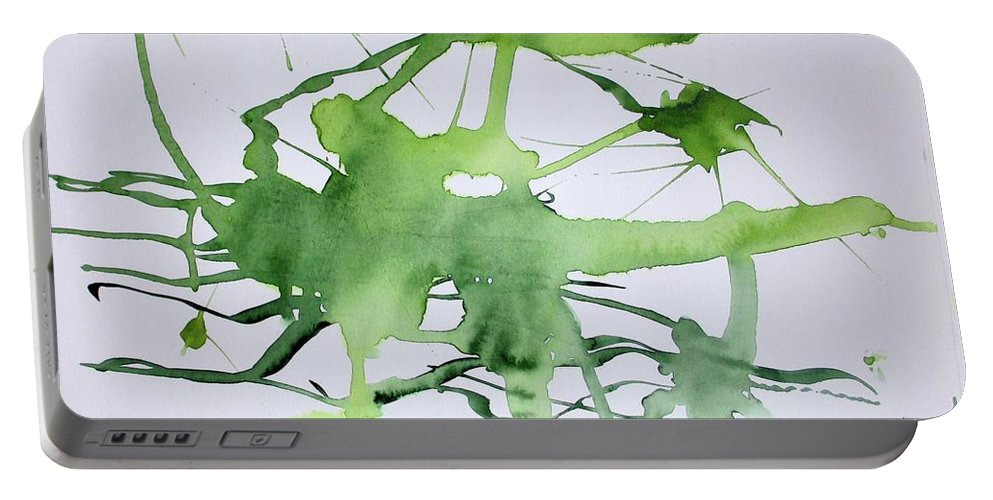 Green Portable Battery Charger featuring the painting Study In Green by Carol Veiga