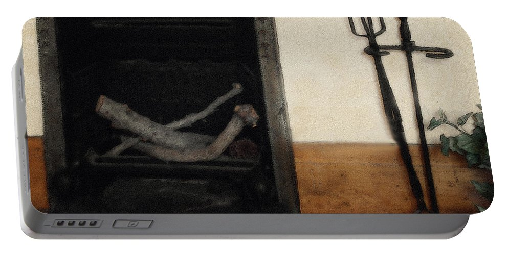 Fireplace Portable Battery Charger featuring the painting Study In Iron, Wood And Stone by RC DeWinter