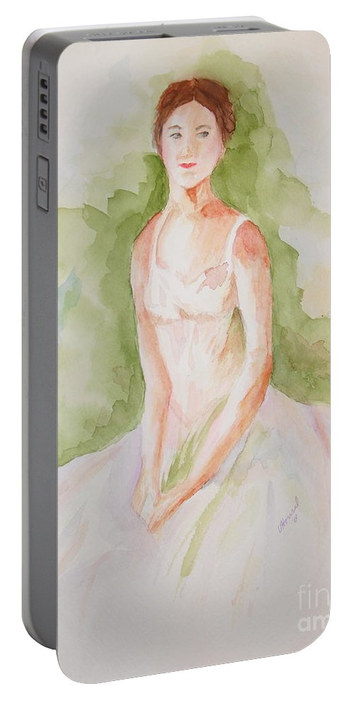 Ballerina Portable Battery Charger featuring the painting Study Of A Ballerina by Vicki Housel