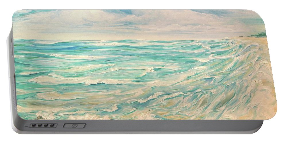 Ocean Portable Battery Charger featuring the painting Study Of Tropical Blue by Jennifer Christenson